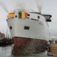 "Freire shipyard launches new oceanographic vessel ""Belgica"" of Belgian Navy"