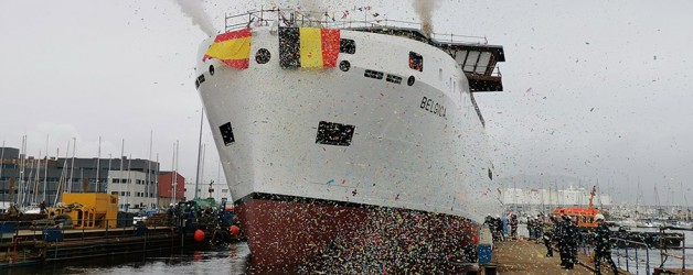 "Freire shipyard launches new oceanographic vessel ""Belgica"" of Belgian Navy"